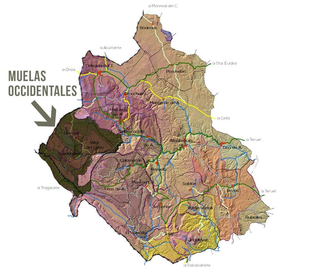 Plano Zona Muelas Occidentales en el parque Micológico de la Sierra Albarracin