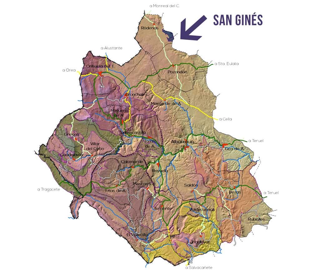 Plano de la Zona San Ginés en la Sierra de Albarracin
