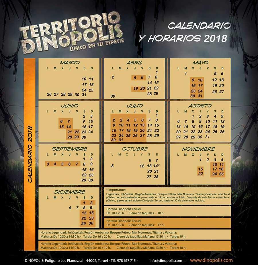 Fotografia del calendario y horarios de Dinopolis